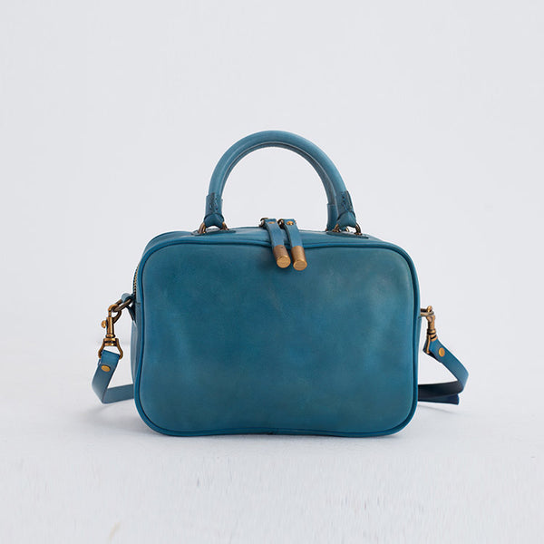 Ladies Small Cube Bag Blue Leather Handbag