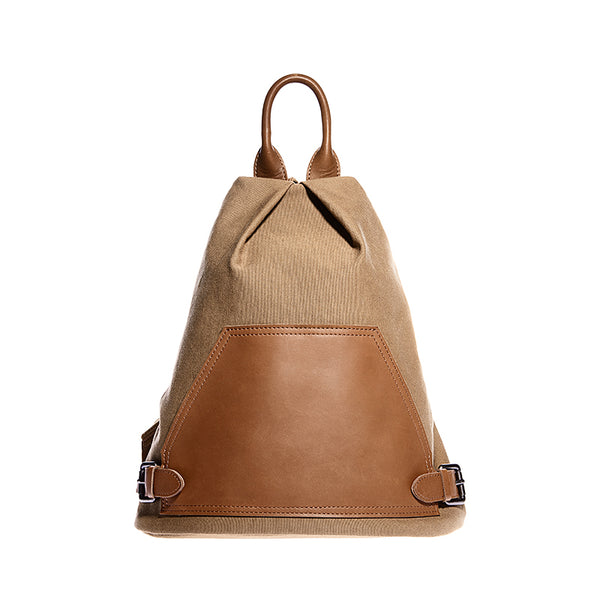 Ladies Small Vintage Canvas Leather Hiking Backpack Purse Canvas Rucksack Bag for Women Accessories
