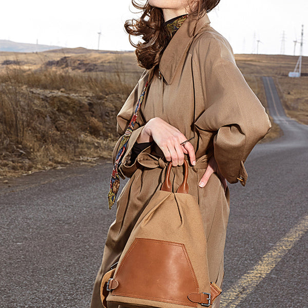 Ladies Small Vintage Canvas Leather Hiking Backpack Purse Canvas Rucksack Bag for Women Beautiful