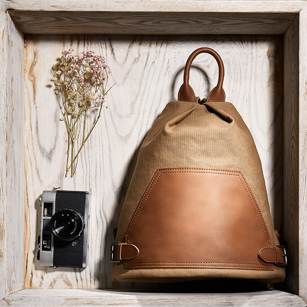 Ladies Small Vintage Canvas Leather Hiking Backpack Purse Canvas Rucksack Bag for Women Brown