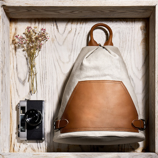 Ladies Small Vintage Canvas Leather Hiking Backpack Purse Canvas Rucksack Bag for Women Chic