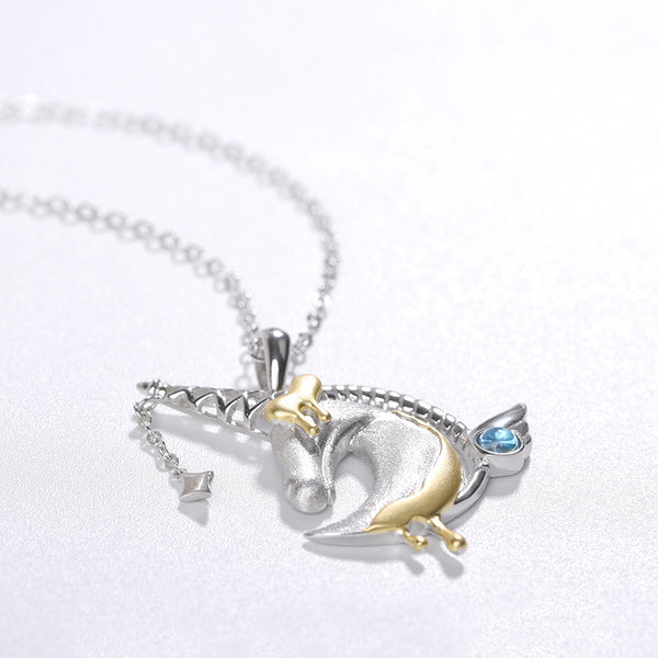 Ladies Sterling Silver Unicorn Moonstone Topaz Pendant Necklace June Birthstone Jewelry for Women adorable