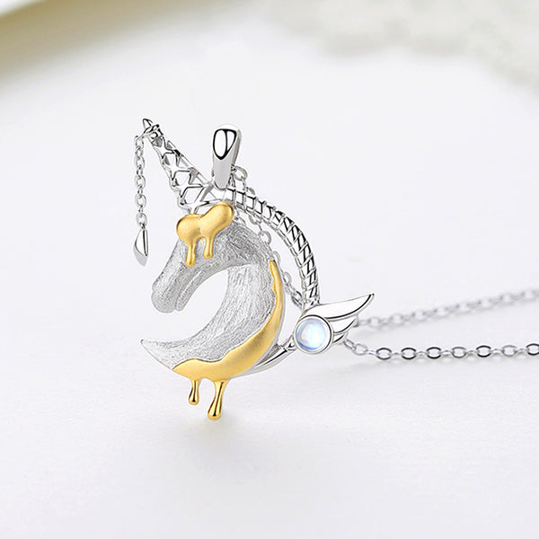 Ladies Sterling Silver Unicorn Moonstone Topaz Pendant Necklace June Birthstone Jewelry for Women chic