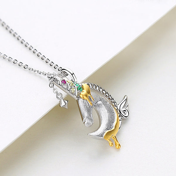 Ladies Sterling Silver Unicorn Moonstone Topaz Pendant Necklace June Birthstone Jewelry for Women charm