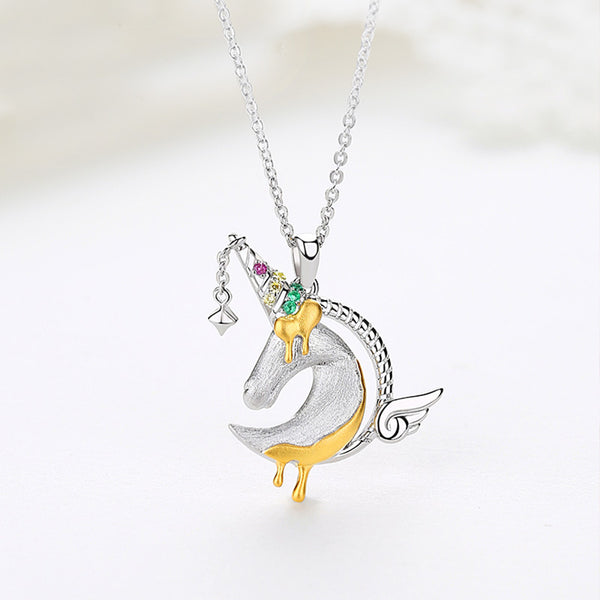 Ladies Sterling Silver Unicorn Moonstone Topaz Pendant Necklace June Birthstone Jewelry for Women fashionable