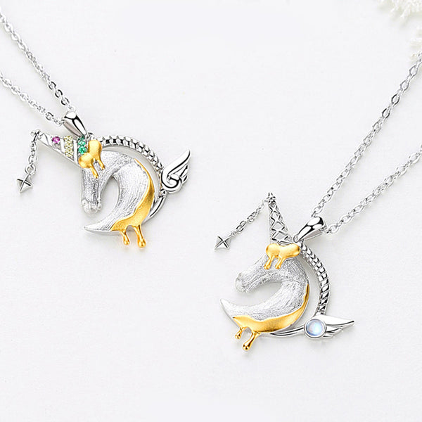 Ladies Sterling Silver Unicorn Moonstone Topaz Pendant Necklace June Birthstone Jewelry for Women fine