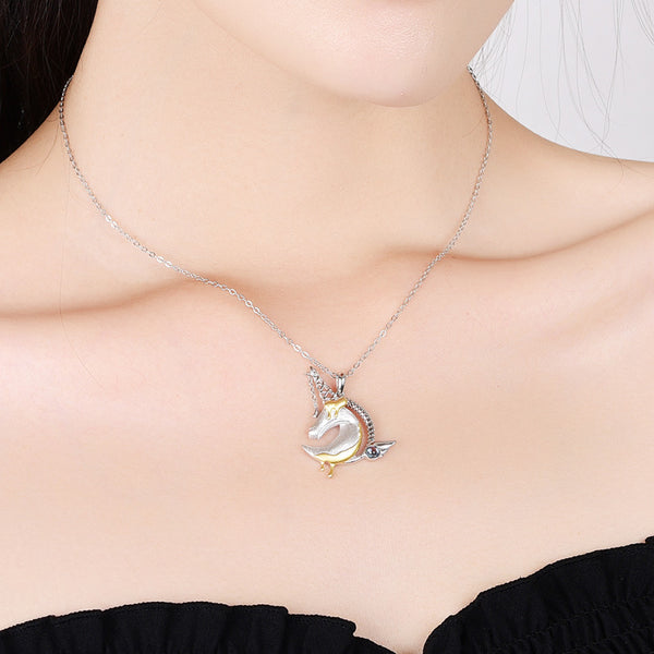 Ladies Sterling Silver Unicorn Moonstone Topaz Pendant Necklace June Birthstone Jewelry