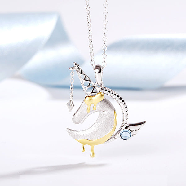 Ladies Sterling Silver Unicorn Moonstone Topaz Pendant Necklace June Birthstone