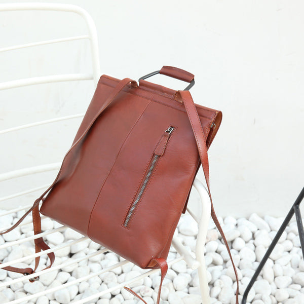 Ladies Tan Leather Elegant Backpack Bag Purse Womens Fashion Bookbag Purse for Women Details