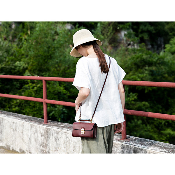 Ladies Vintage Brown Leather Satchel Handbags Small Shoulder Bags for Women best