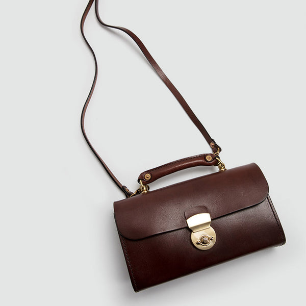 Ladies Vintage Brown Leather Satchel Handbags Small Shoulder Bags for Women fashion