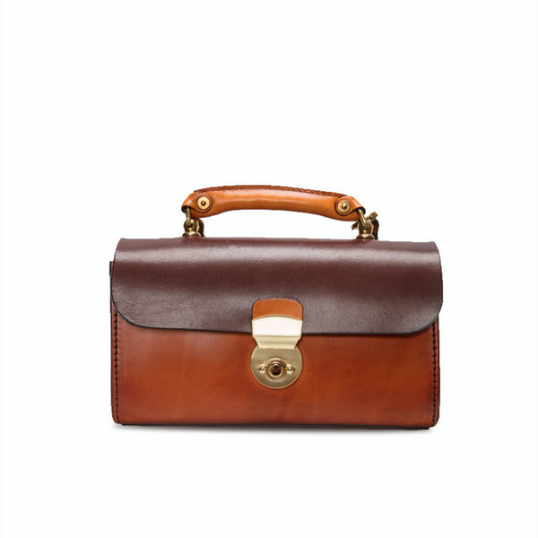 Ladies Vintage Brown Leather Satchel Handbags
