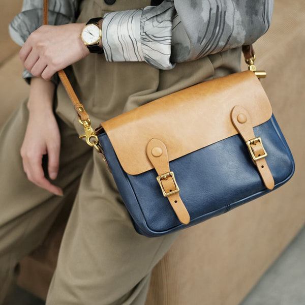 Ladies Vintage Leather Crossbody Satchel Purse Messenger Bag For Women Designer