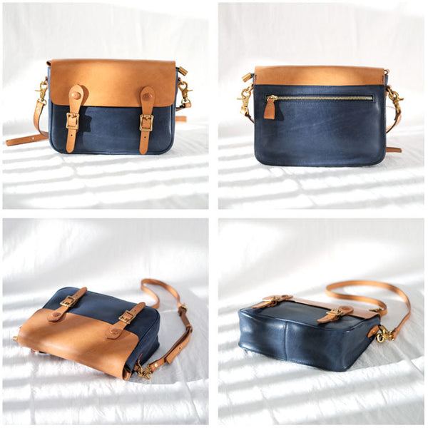Ladies Vintage Leather Crossbody Satchel Purse Messenger Bag For Women Fashion