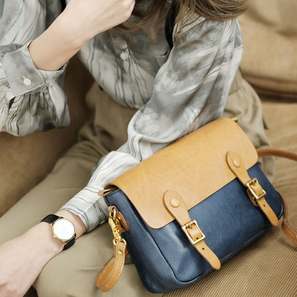 Ladies Vintage Leather Crossbody Satchel Purse Messenger Bag For Women Genuine Leather