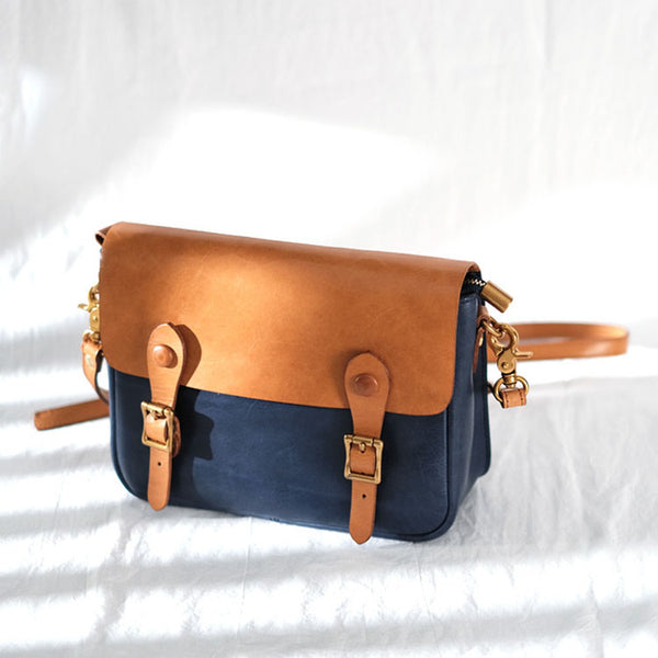 Ladies Vintage Leather Crossbody Satchel Purse Messenger Bag For Women Handmade
