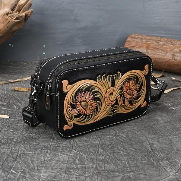 Ladies Vintage Tooled Leather Crossbody Bag Side Bags For Women Accessories