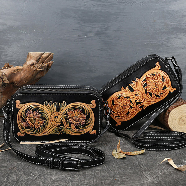 Ladies Vintage Tooled Leather Crossbody Bag Side Bags For Women Beautiful