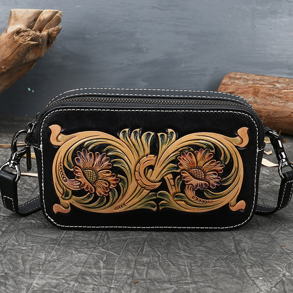Ladies Vintage Tooled Leather Crossbody Bag Side Bags For Women Best