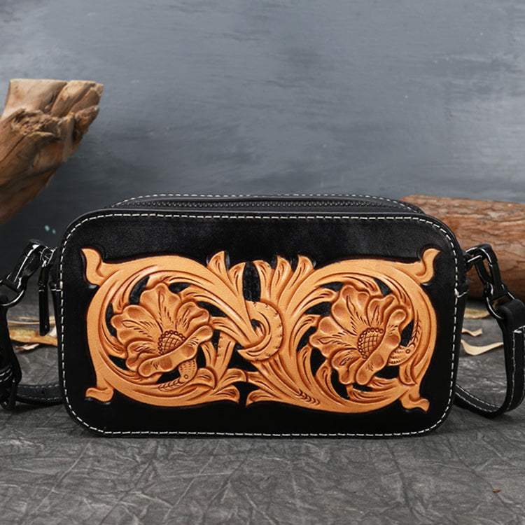 Ladies Vintage Tooled Leather Crossbody Bag Side Bags For Women Chic