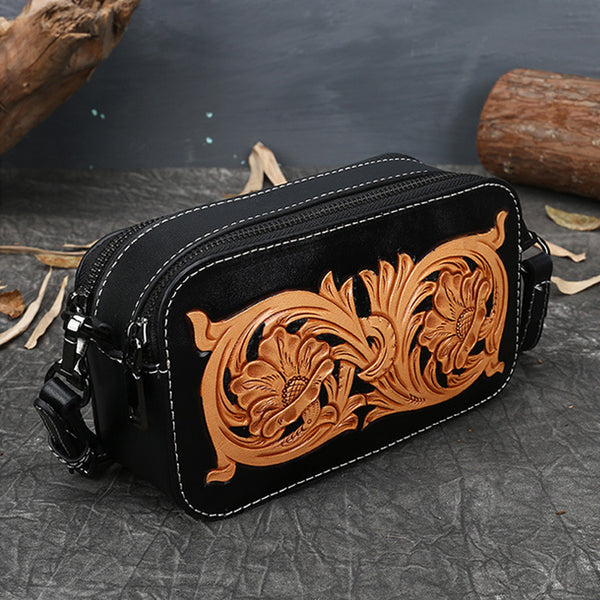 Ladies Vintage Tooled Leather Crossbody Bag Side Bags For Women Cool