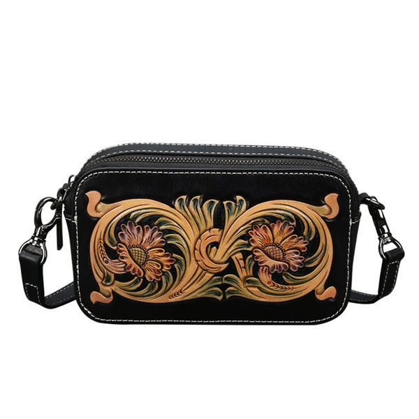 Ladies Vintage Tooled Leather Crossbody Bag Side Bags For Women Cowhide
