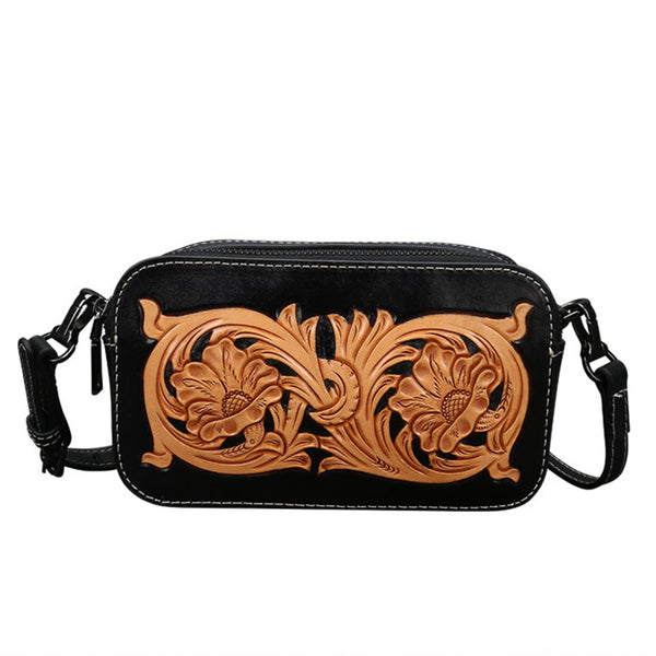Ladies Vintage Tooled Leather Crossbody Bag Side Bags For Women Designer