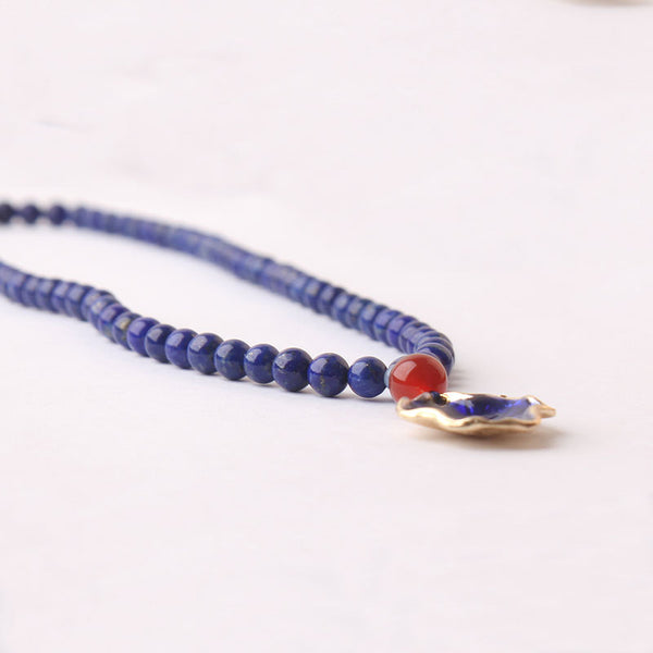 Lapis Lazuli Beaded Pendant Necklace December Birthstone Gemstone Jewelry Accessories Gift for Women