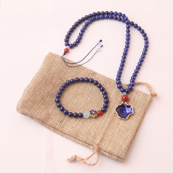 Lapis Lazuli Beaded Pendant Necklace Handmade Gemstone Jewelry Accessories Gift Women chic