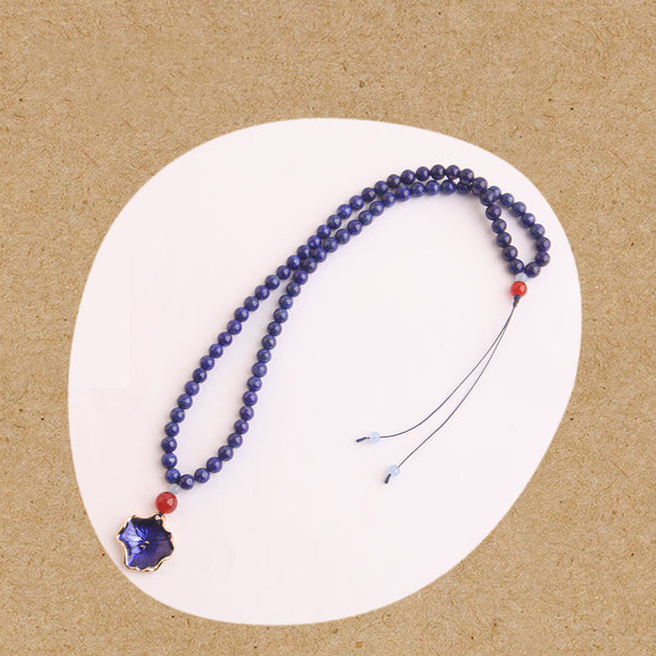 Lapis Lazuli Beaded Pendant Necklace Handmade Gemstone Jewelry Accessories Gift Women cute