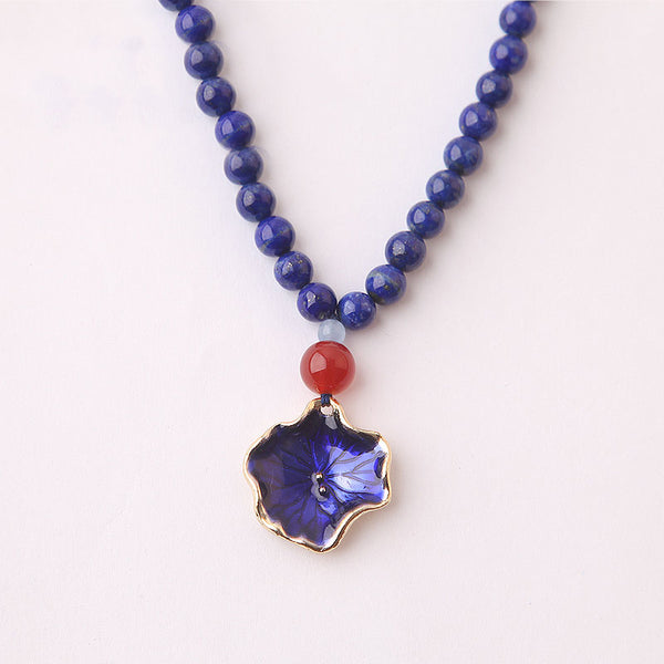 Lapis Lazuli Beaded Pendant Necklace Handmade Gemstone Jewelry Accessories Gift Women