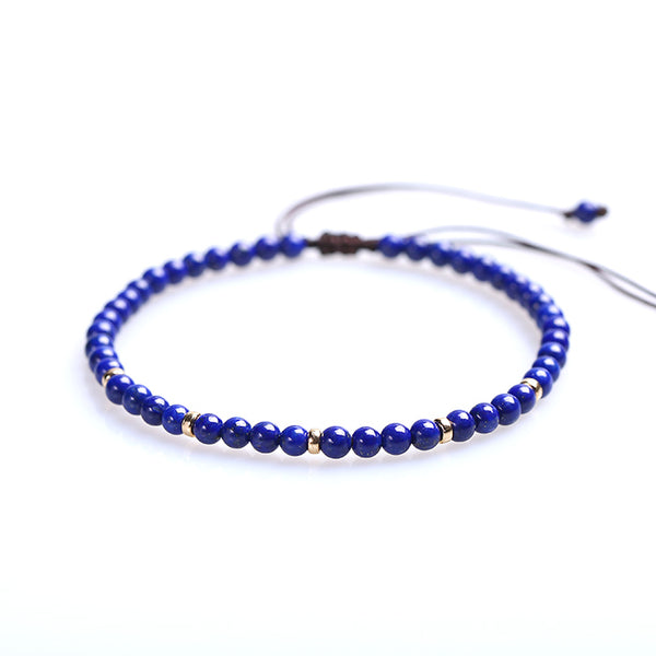 Lapis Lazuli Gold Bead Bracelet Handmade Couples Lovers Jewelry Accessories Women Men