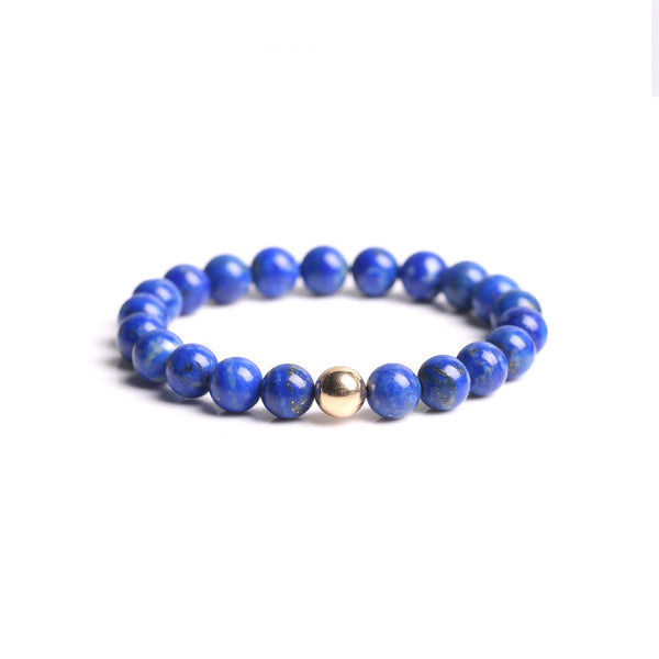 Lapis Lazuli Silver Gold Bead Bracelet Handmade couple Jewelry Accessories Women Men