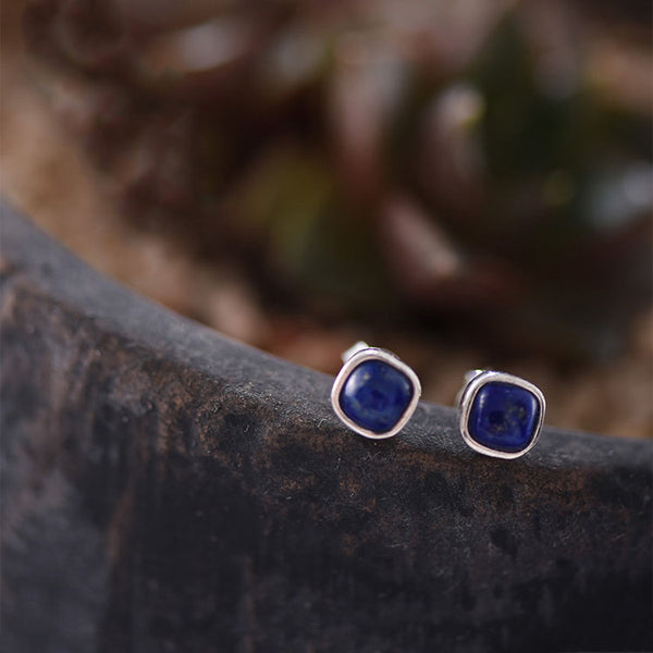 Lapis Lazuli Stud Earrings in Sterling Silver Jewelry Accessories Gifts For Women