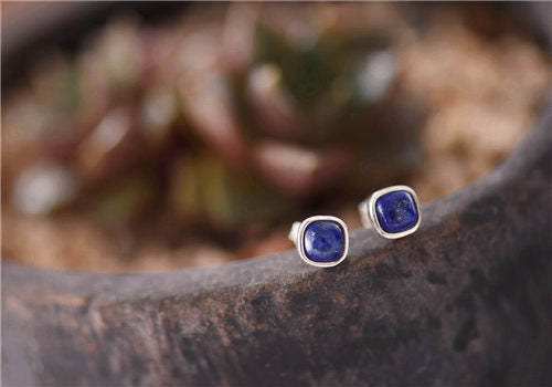 Lapis Lazuli Stud Earrings Sterling Silver Jewelry Accessories Gifts Women elegant