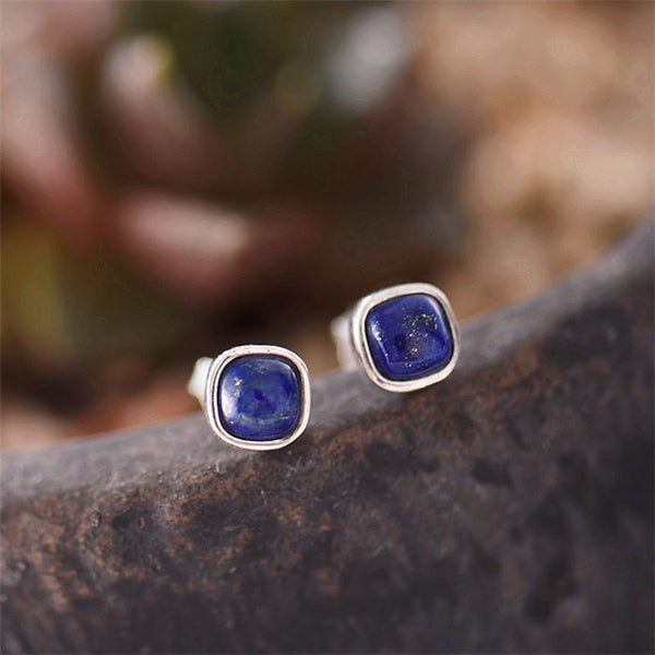 Lapis Lazuli Stud Earrings Sterling Silver Jewelry Accessories Gifts Women
