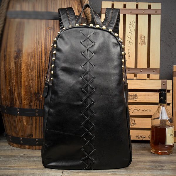 Large Ladies Black Leather Laptop Backpack Western Rivet Backpack Purse For Women