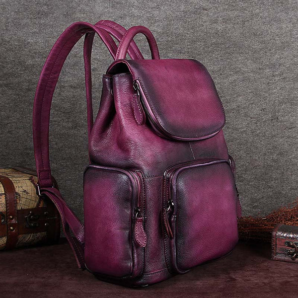 Leather Backpacks Vintage Laptop Backpack School bag Women purple