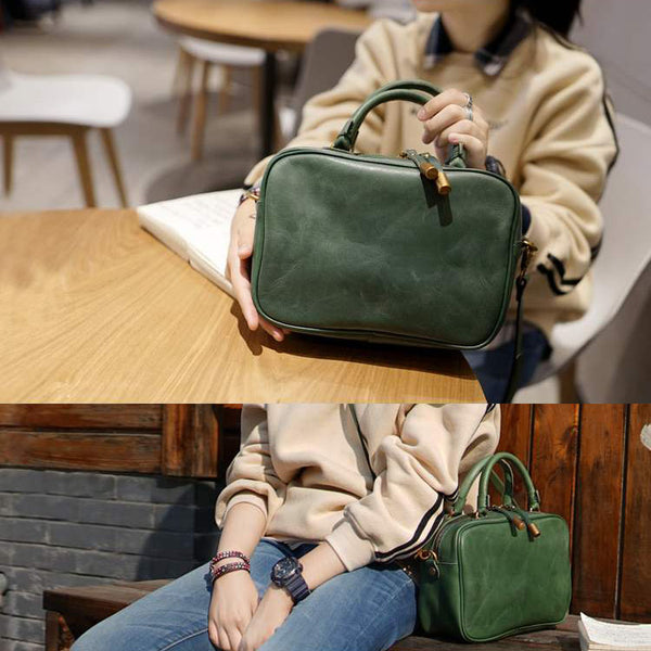 Leather Small Over the Shoulder Purse Bags Crossbody Handbags for Ladies Green
