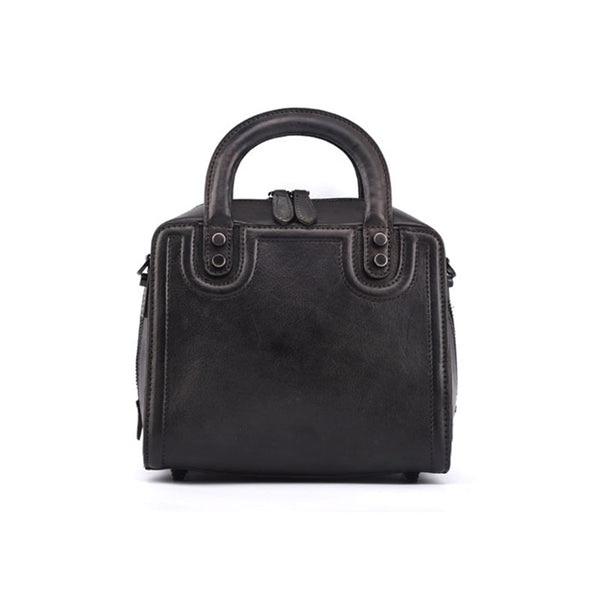 Leather Women Cube Bag Leather Handbags Crossbody Bags for Women Black