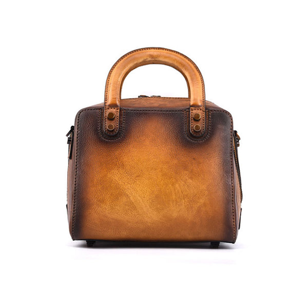 Leather Women Cube Bag Leather Handbags Crossbody Bags for Women Brown