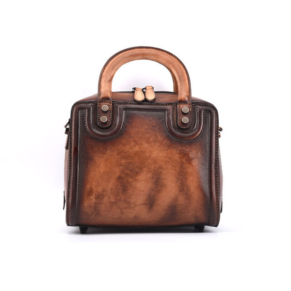 Leather Women Cube Bag Leather Handbags Crossbody Bags for Women Coffee