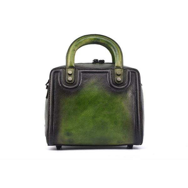 Leather Women Cube Bag Leather Handbags Crossbody Bags for Women Green