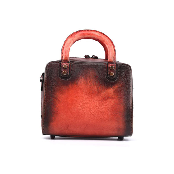 Leather Women Cube Bag Leather Handbags Crossbody Bags for Women Red