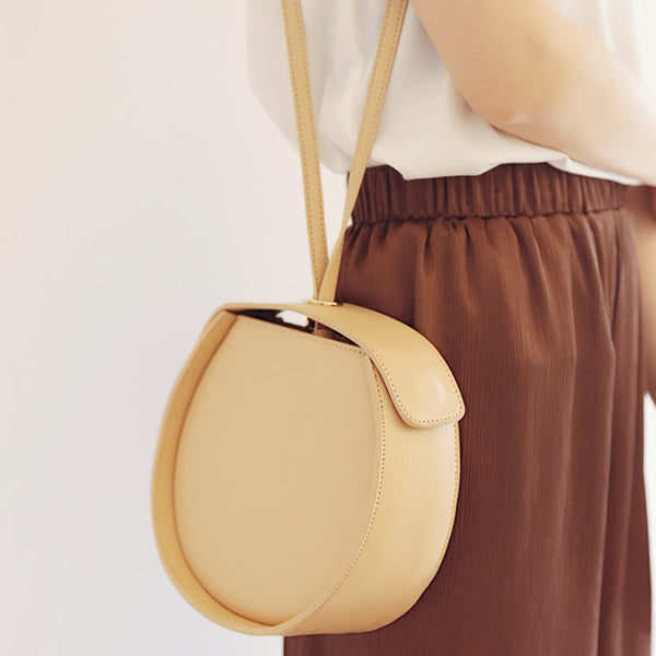 Leather Womens Circle Handbags Small Leather Crossbody Bags Purse Boutique