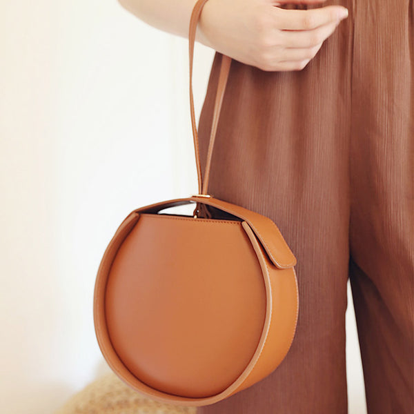 Leather Womens Circle Handbags Small Leather Crossbody Bags Purse beautiful