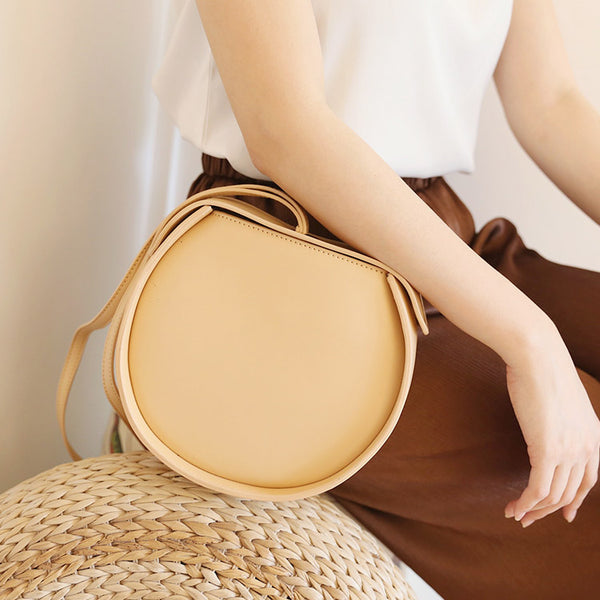 Leather Womens Circle Handbags Small Leather Crossbody Bags Purse best