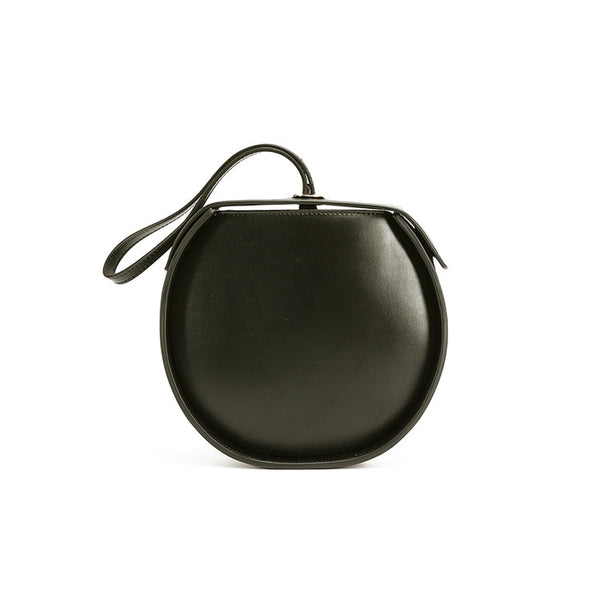 Leather Womens Circle Handbags Small Leather Crossbody Bags Purse black