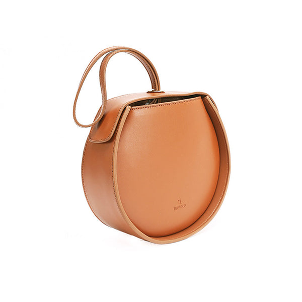 Leather Womens Circle Handbags Small Leather Crossbody Bags Purse brown