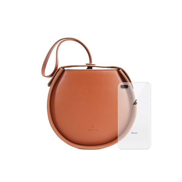 Leather Womens Circle Handbags Small Leather Crossbody Bags Purse mini
